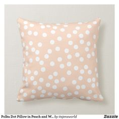 Shop Polka Dot Pillow in Peach and White created by itsjensworld. Polka Dot Print, Polka Dots, Lumbar Pillow, Throw Pillows, Wide Stripes, Custom Pillows, House Warming, Personalized Gifts, Christmas Gifts