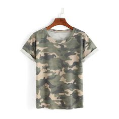 60a0b60e23 Rolled Sleeve Camouflage T-shirt (460 RUB) via Polyvore featuring tops, t