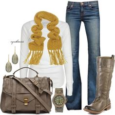 Keeping it Simple~Mustard and Taupe ...shows how a pretty scarf can really add to the white t-shirt....really like the mustard color, shoulder bag  boots