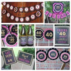 Ladies 40th birthday party decorations.   8-piece party decor box.  Black, hot pink and gold glitter.  Any Age. by CharmingTouchParties on Etsy