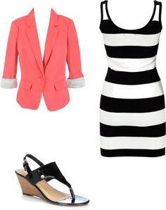 styled/ fashion / coral blazer / black and white striped dress