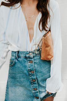 white blouse and button up denim skirt