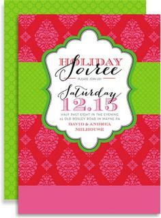 red brocade soiree Invitation #holiday #party #invitation