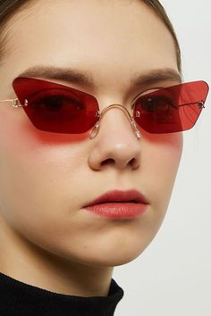 829bcfa86d Red Rimless Tinted Lens Cat Eye Sunglasses