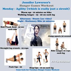 """The Hunger Games Workout MONDAY  - Follow Jennifer Lawrence's workout routine and get the moves you need to get the body you deserve.  """"May the odds ever be in your favor.""""  #hungergames #jenniferlawrence #fitness #exercise #workoutroutines #fitnessroutines #weightloss"""