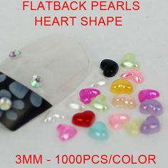 Free shipping 3mm 1000pcs  imitation pearls peach heart shape flatback pearls perfect for nail art diy phone case decoration