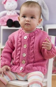 Seeds of Spring Baby Cardi Free Knitting Pattern from Red Heart Yarns