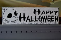 Jack Skellington Custom Wood Sign, Halloween Decor, Nightmare Before Christmas, Home Decor. $40.00, via Etsy. Halloween Wood Signs, Chic Halloween, Diy Halloween Decorations, Halloween Crafts, Halloween Party, Halloween Stuff, Halloween Ideas, Fall Crafts, Christmas Bedroom