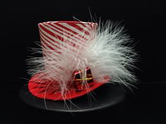 Red and White Striped Christmas Holiday Mad Hatter Mini Top Hat. Great for Christmas Photos, Ugly Sweater Parties, Birthdays and More...