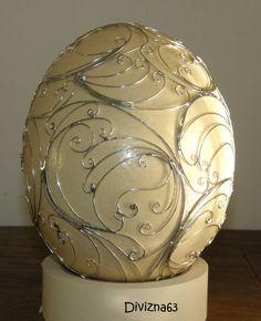 Cínovaná pštrosí kraslice Egg Art, Wire Crafts, Egg Decorating, Egg Shells, Easter Eggs, Decoupage, Clay, House Design, Spring Decorations
