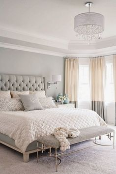 Gray, white, and tan bedroom. Great two tone curtains and upholstered headboard! Love the softness of the neutral colors. Sou...