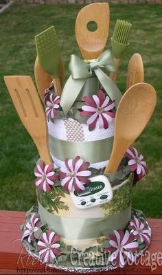 Bridal Shower Towel Cake!!! So awesome and useful!!! Theme it to the Bride's kitchen colors