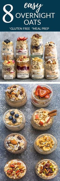 8 Healthy and delicious OVERNIGHT OATS – simple no-cook make-ahead oatmeal perfect for busy m. 8 Healthy and delicious OVERNIGHT OATS – simple no-cook make-ahead oatmeal perfect for busy mornings. Best Breakfast, Healthy Breakfast Recipes, Healthy Snacks, Healthy Eating, Clean Eating, Breakfast Cake, Vegan Breakfast, Breakfast Muffins, Healthy Recipes