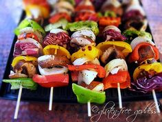 Grilled Veggie Kebabs on Dirty Rice.
