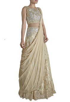 Cream and silver embroidered gown with attached dupatta @ aza