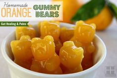 Homemade Orange Gummy Bears Recipe - 1/3 cup of juiced oranges, or other fruit juice 3 Tbsp Grass Fed Gelatin 2-3 Tbsp Raw Honey