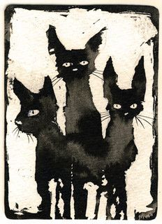 Awesome ink illustration of 3 Black cats Crazy Cat Lady, Crazy Cats, Illustrations, Illustration Art, Memes Arte, Gatos Cat, Black Cat Art, Black Cats, Video Chat