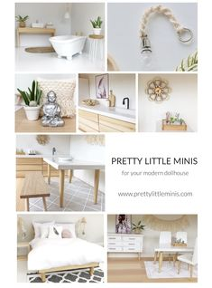 Pretty Little Minis of all the most on trend and designer looks - in miniature! Have you seen those amazing modern dollhouses on Pinterest and Instagram? We can show you how to create your own DIY modern dollhouse! Mix and match your own handmade miniature furniture with modern pieces from our collection (such as boho baskets, bamboo and rattan touches and scandi accessories) Follow us on Instagram @pretty_little_minis Dollhouse Miniature Tutorials, Miniature Houses, Diy Dollhouse, Miniature Dolls, Dollhouse Miniatures, Modern Dollhouse Furniture, Barbie Furniture, Miniature Furniture, Furniture Ideas