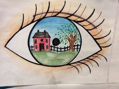 Color Pencil Drawing Ideas eye reflection using sharpies, color pencils and crayons for my elementary students as an example. House and tree. Middle School Art, Art School, High School, 6th Grade Art, Ecole Art, Art Lessons Elementary, Art Education Lessons, School Art Projects, Spring Art