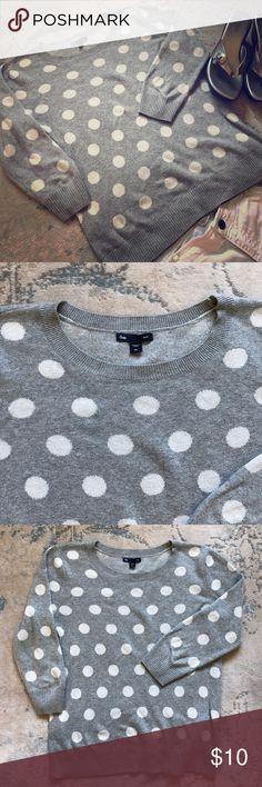 Polka dot grey Gap 3/4 length sweater. Polka dot grey Gap 3/4 length sleeves sweater. Size XS. Perfect for spring! GAP Sweaters Crew & Scoop Necks