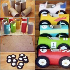 Racing cars made with toilet paper rolls