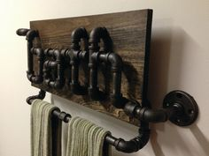 Industrial Black Iron Pipe Bathroom Towel Holder by Mobeedesigns, $299.99  I want this SO Bad!