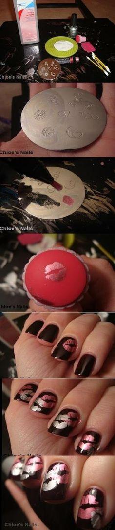 Valentine's Day nail design - Konad tutorial -nail stamping - nail art - nails - nailart how to - nail art tutorial #nailart #nails by Amba09
