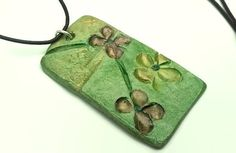 Pendant #Necklace  #CeramicClay #pendant  Green with gold&bronze tones  #handmade  Clay jewelry by GlossyPapierRecy on Etsy