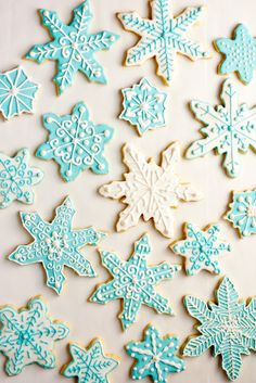 delicate tiffany blue iced sugar cookie snowflakes.