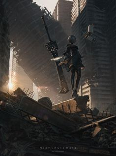 Beautiful Science Fiction, Fantasy and Horror art from all over the world. Nier Automata 2, Nier Automata Bosses, Drakengard Nier, Arte Cyberpunk, Anime Scenery, Video Game Art, Animes Wallpapers, Fantasy World, Best Games