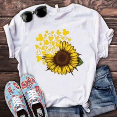 Mickey Head Sunflower Cute Disney Vacation by TeeHin. Thousands of designs available for you on shirts, hoodies, posters and mugs . Made in USA, Worldwide Shipping. Mode Kimono, Cute Shirt Designs, Disney Vacation Shirts, Sunflower Shirt, T Shirt Painting, Mickey Shirt, Shirt Print Design, Painted Clothes, Cute Disney