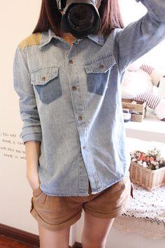 Autumn/winter  new patch Pocket short denim shirt long sleeve shirt