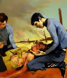 This is gorgeous and sad. Kirk is the only friend--the only person--Spock really has. His family doesn't want anything to do with him and his lack of social skills drives everyone else off. Kirk is his best friend, and the Vulcan horror on his face... this artist is amazing. (No more critiquing for now!)