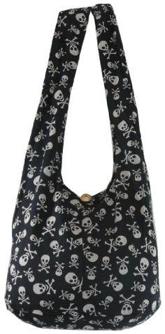 Black Cotton Printed Skull Crossbody Shoulder Hippie Boho Hobo Messenger Bag Goth Punk Purse PK01