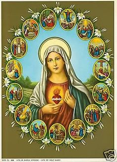 Catholic-Print-Picture-LIFE-OF-BLESSED-VIRGIN-MARY-ready-to-frame