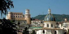 Corigliano, Calabria, Italy... my grandmother's birthplace. Chiesa di S. Antonio in the foreground and the Castello Ducalle in the background.