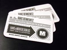 10 creative business card designs.  Design byMode Design; Found via For Print Only  Bold, black & white and graphic design with curved edges