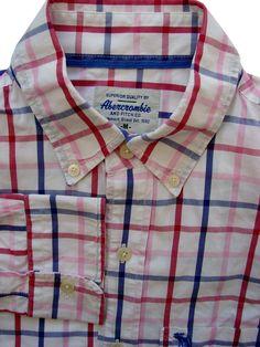 ce9a6cf242 ABERCROMBIE & FITCH Shirt Mens 15.5 M White – Multi-Coloured Stripes -  £14.99