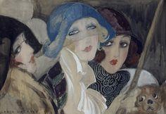 Three Young Women in Hats, 1920's Art Print by Gerda Wegener at King & McGaw