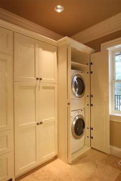 Concealed Stacked Washer and Dryer, Transitional, Laundry Room ...