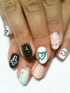 Studded, cross, nails, heart,