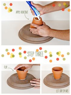 How to Make a Clay Pot Cake Stand. You will need: small clay pot, large saucer, super glue, and spray paint. Instructions: Glue bottom of the clay pot to bottom of the saucer. Let dry 24 hours. Flip it over and spray paint. Clay Pot Crafts, Diy Clay, Diy And Crafts, Crafts For Kids, Cake Stand With Lid, Cake Stands, Diy Wood Projects, Projects To Try, Dessert Stand