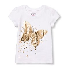 s Toddler Short Sleeve Metallic Butterfly Graphic Tee - White T-Shirt - The Children's Place