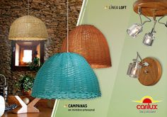 """Conocé la línea """"Loft"""" de apliques de pared y de techo, y las nuevas Campanas diseñadas en mimbre artesanal de CARILUX. Para más info ingresá http://www.iluminacion.net/"""