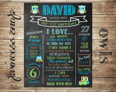 First Birthday Chalkboard - Owls - 100% CUSTOMIZED Poster Sign Birthday Printable File - Baby's First Birthday - Boy or Girl