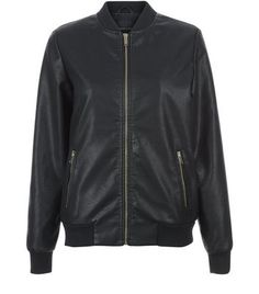 Black Leather-Look Bomber Jacket