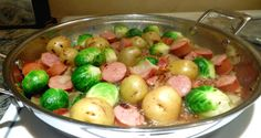 One Perfect Bite: Simple Smoked Sausage, Spuds and Sprout Skillet