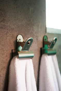 coolest towel hangers ever! #decor #industrial #fun