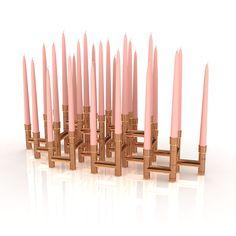 Koperbuis kandelaar Skyline Fourteen - Made by de l'Orme Skyline, Candles, Retro, Diy, Products, Bricolage, Do It Yourself, Fai Da Te, Beauty Products