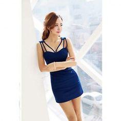 $6.69 Slimming Plunging Neck Sleeveless Short Club Dresses For Women